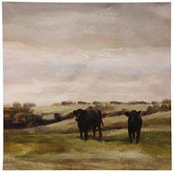 Cattle Graze II Hand Embellished Canvas Art Print