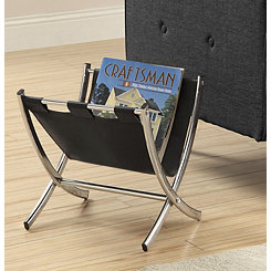 Black Leather Magazine Rack with Chrome Legs