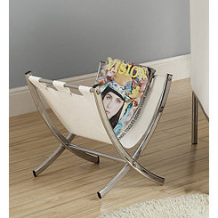 White Leather Magazine Rack with Chrome Legs