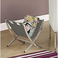 Gray Leather Magazine Rack with Chrome Legs