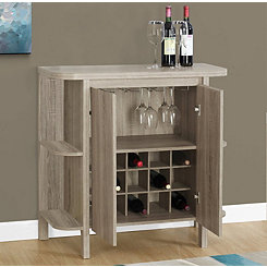 Two-Door Taupe Bar Storage Cabinet
