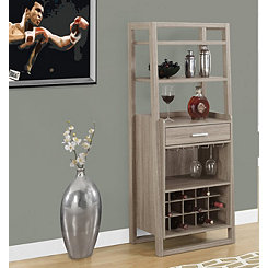 Ladder Style Taupe Bar Storage Cabinet