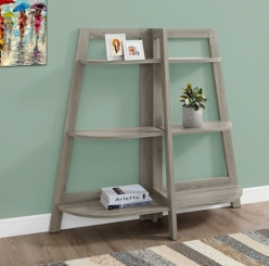 Taupe 6-Shelf Half Moon Bookcase