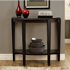 Cappuccino Half Moon Console Table with Open Shelf