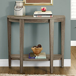 Taupe Half Moon Console Table with Open Shelf