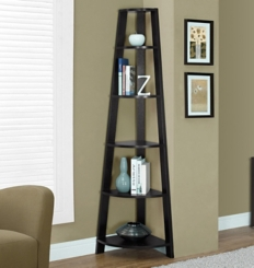Cappuccino Corner Bookcase with 5 Shelves
