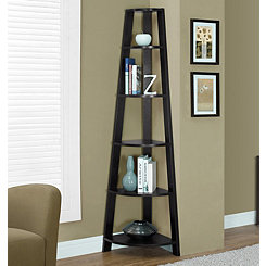 Cappuccino Corner Bookcase with 5 Shelves