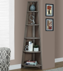 Taupe Corner Bookcase with 5 Shelves