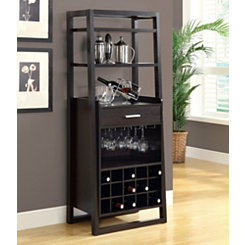Ladder Style Cappuccino Bar Storage Cabinet