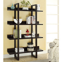 Cappuccino Open Display Bookcase with 4 Shelves