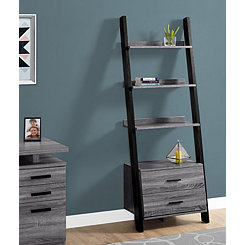 Gray and Black Ladder Style Bookcase with Drawers