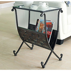 Glass Accent Table with Black Magazine Rack Base