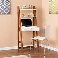 White and Oak Mid-Century Modern Leaning Desk