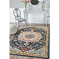 Blue Ava Medallion Area Rug, 5x7