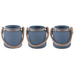 Glass Cobalt Votive Holders, Set of 3