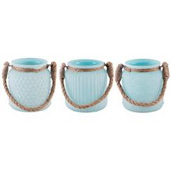 Glass Aqua Votive Holders, Set of 3