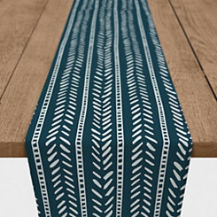 Blue Box and Dash Cotton Table Runner