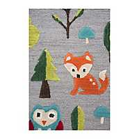 Gray Forest Animal Accent Rug, 3x5