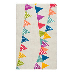 Multicolor Triangle Banner Accent Rug, 3x5