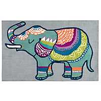 Patterned Elephant Accent Rug, 3x5