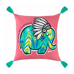 Pink and Teal Elephant Simply Southern Pillow