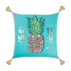 Teal and Gold Pineapple Simply Southern Pillow