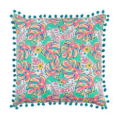 Aqua and Pink Leaf Simply Southern Pillow