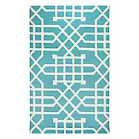 Teal Geometric Outdoor Area Rug, 5x8