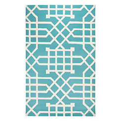 Teal Geometric Outdoor Area Rug, 8x10