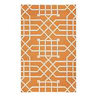 Orange Geometric Outdoor Area Rug, 5x8