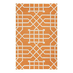 Orange Geometric Outdoor Area Rug, 5x8