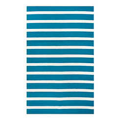 Blue and White Stripe Outdoor Area Rug, 5x8