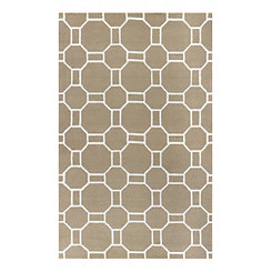 Beige Geometric Outdoor Area Rug, 5x8