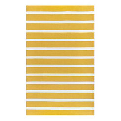 Gold and White Stripe Outdoor Area Rug, 5x8