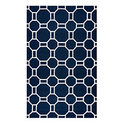 Navy Geometric Outdoor Area Rug, 5x8