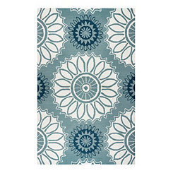 Sage Floral Medallion Outdoor Area Rug, 5x8