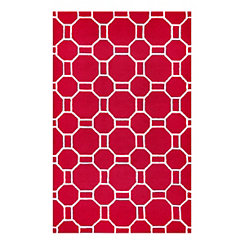 Red Geometric Outdoor Area Rug, 5x8