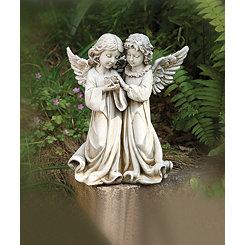 Angels with Bird Garden Statue