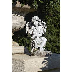 Solar LED Angel with Bird Statue