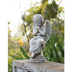 Seated Angel on Pedestal Statue