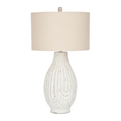 Vicki White Washed Resin Table Lamp