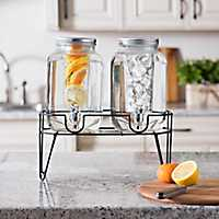 Double Infuser Beverage Dispensers with Stand