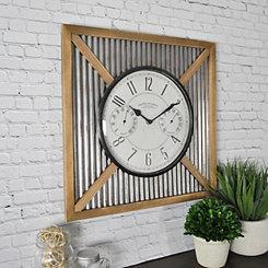 Barnyard Outdoor Thermometer Clock