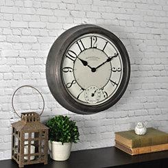 Bronze Patina Outdoor Thermometer Clock