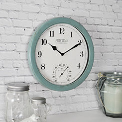 Aged Teal Outdoor Thermometer Clock