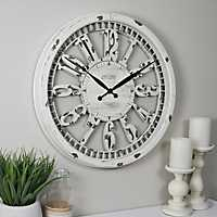 Whitney Distressed Cream Open Wall Clock
