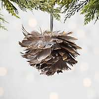 Gold Tip Brown Feather Ornament