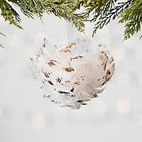 Gold Tip Cream Feather Ornament