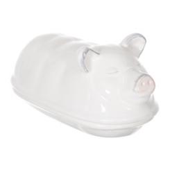 White Piggy Butter Dish