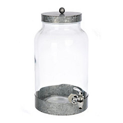 Galvanized Metal and Glass Beverage Dispenser